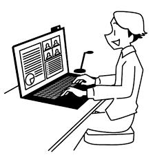 イラスト:パソコンを見ながら在宅勤務